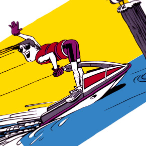 Reckless jet skier cartoon